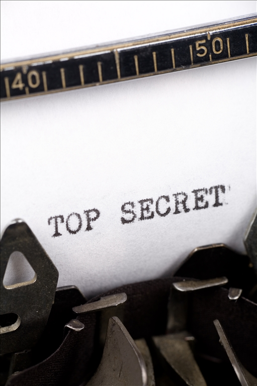 Typewriter close up shot, Concept of Top Secret